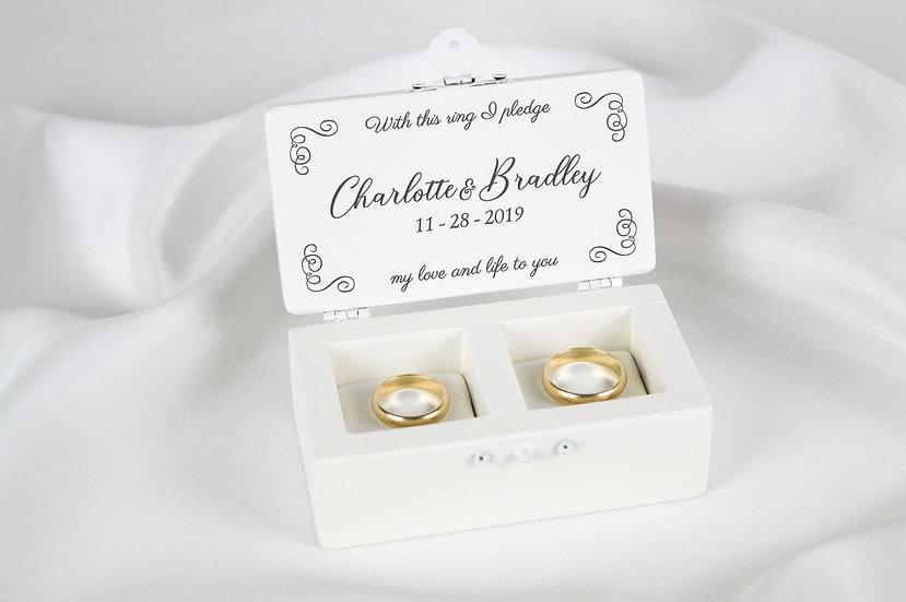 White Wedding Ring Box, White Ring Holder