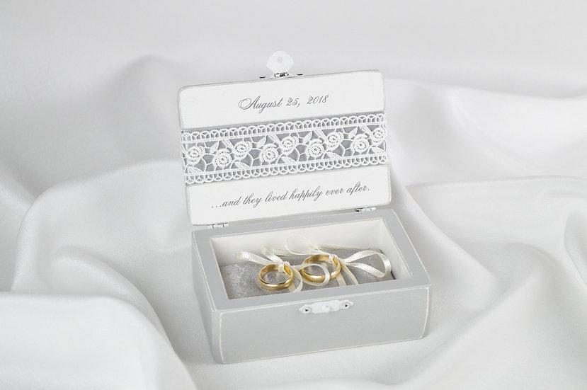 Grey ring box, Grey wedding ceremony ring box