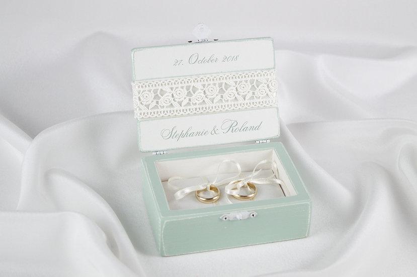 Mint ring box, Mint wedding ceremony ring box