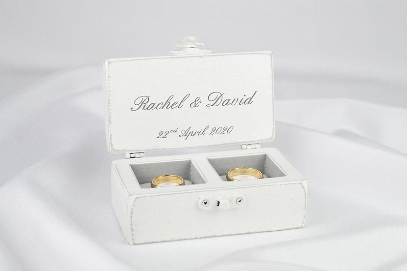White ring box, White wedding ceremony ring box