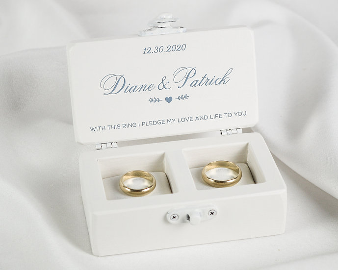 White Wedding Ring Box, Ceremony Ring Box