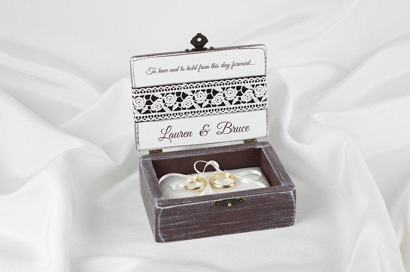 Brown ring box, Brown wedding ceremony ring box