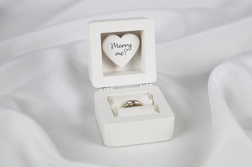 White Engagement Ring Box, White Proposal Ring Box