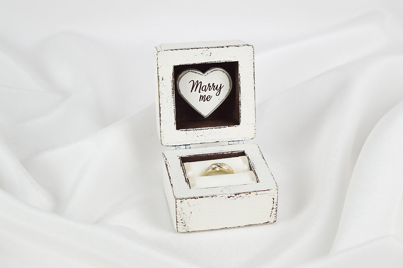 Ivory Engagement Ring Box, Ivory Proposal Ring Box