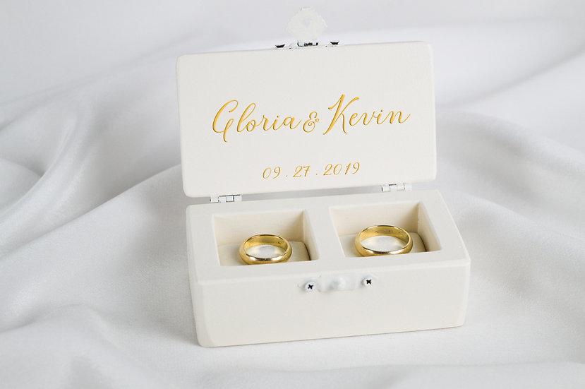 Ivory ring box, Ivory wedding ceremony ring box