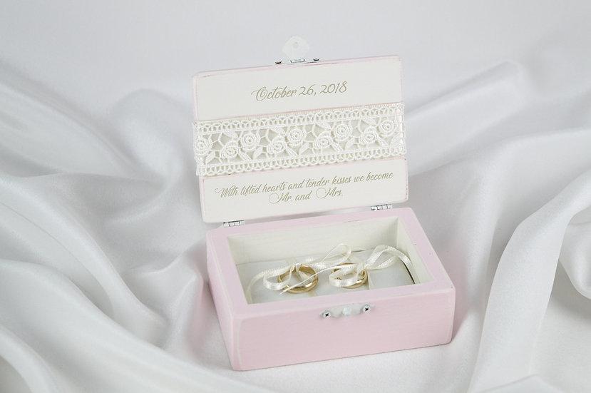 Pink ring box, Pink wedding ceremony ring box