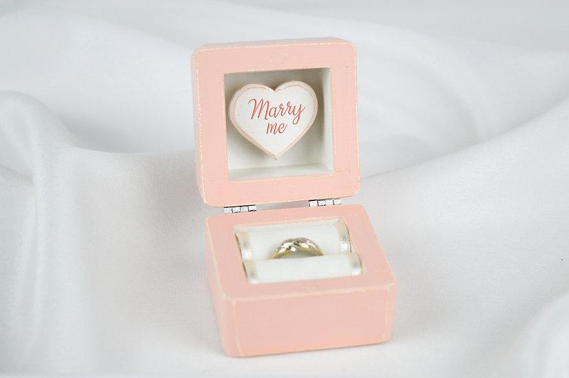 Peach Engagement Ring Box, Blush Proposal Ring Box