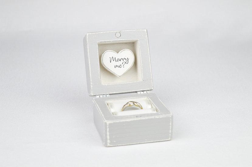 Grey Engagement Ring Box, Grey Proposal Ring Box