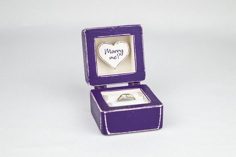 Purple Engagement Ring Box, Purple Proposal Ring Box