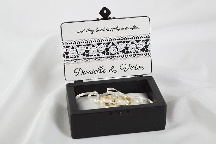 Black ring box, Black wedding ceremony ring box