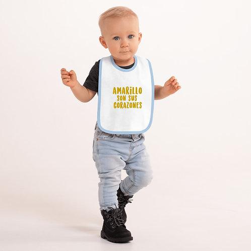 Babero de bebé bordado 'Amarillo son sus corazones'