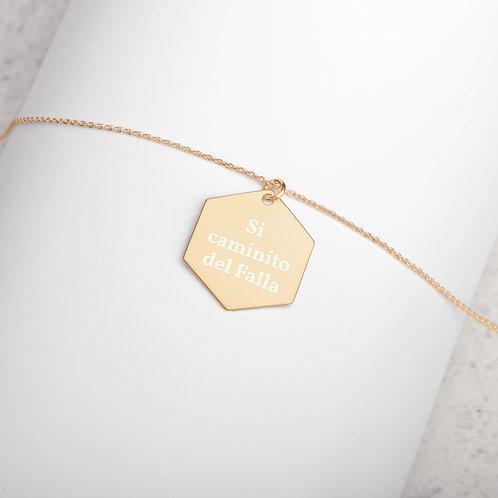 Colgante hexagonal grabado en plata 'Si caminito del Falla'