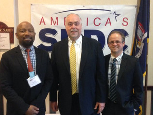 Brian Goldstein, NYSBDC State Director, with Pace SBDC Director Andrew Flamm & Senior Business Advisor Rawle Brown