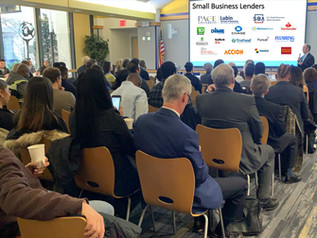 Pace SBDC Director Andrew Flamm addressing attendees of the small business lending panel & networking session we co-hosted with the SBA's New York District office