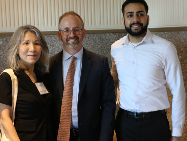 Pace SBDC's Andrew Flamm and Anish Thakkar with Man-Li Lin from the SBA New York District Office at a small business resources forum hosted by the SBA