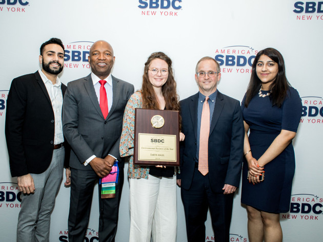 Pace SBDC team with the 2019 NY Small Business Development Center network's Environmental Business of the Year founder Emellie O'Brien