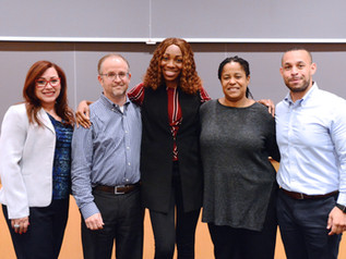 Pace SBDC Director Andrew Flamm and NYSBDC colleagues with Pace SBDC client Ta'Donna Nagle, winner of the NYSBDC spring 2019 pitch competition