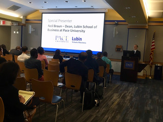 Neil Braun, Dean of Pace University's Lubin School of Business, addressing attendees of the small business lending panel & networking session