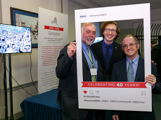 Pace SBDC Director Andrew Flamm with NYSBDC State Director Brian Goldstein and Christopher Mitchell, Founder/CEO of Geopipe, an SBDC client selected as one of ten small businesses from around the country to be featured at the 2020 ASBDC client showcase