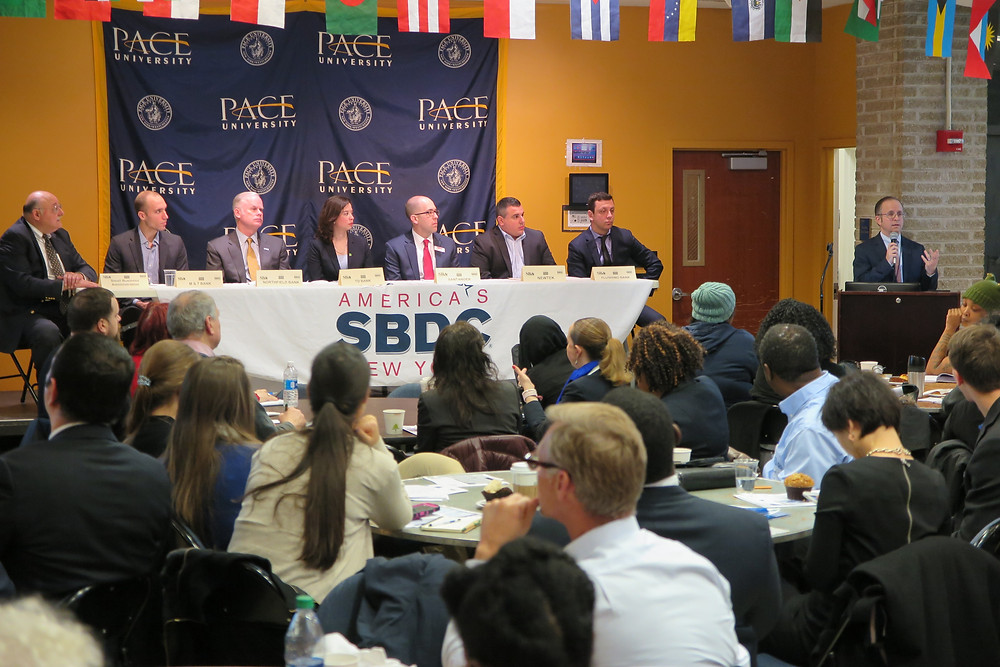 """Pace SBDC Director, Andrew Flamm, welcoming attendees to the """"Meet the Small Business Bankers"""" panel event."""