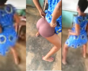 Secondary School Girl Undressing in Classroom whiles Mates are Learning.