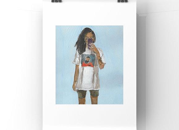 Oversize T-shirt Selfie Print