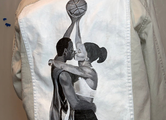 "Hand painted ""Love & Basketball"" Denim Jacket"