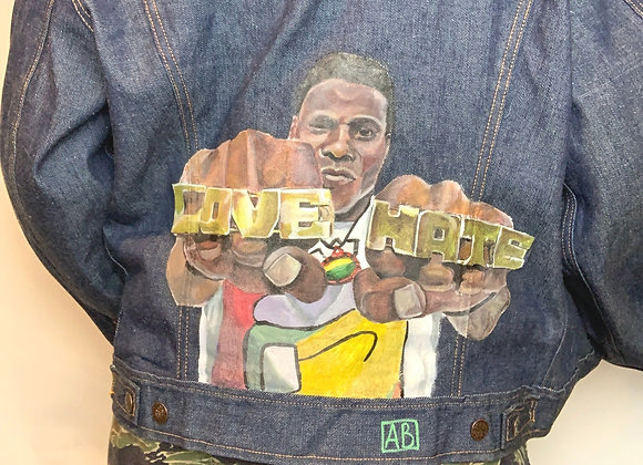"""Hand painted """"Do The Right Thing"""" Denim Jacket"""