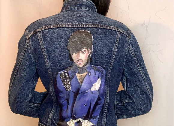 "Hand painted ""Prince"" Vintage Denim Jacket"