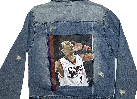 Unisex Allen Iverson Hand-painted Denim Jacket