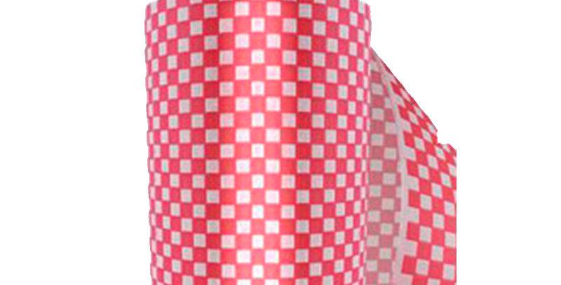 Rollo de 30 kilosde Papel Parafinado impreso en cuadros rojos de30 cm de ancho