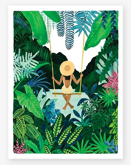 Girl on swing print