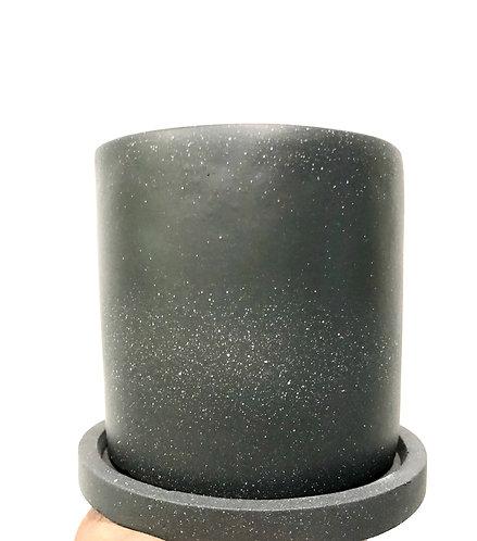 Dark gray cement pot w/ saucer