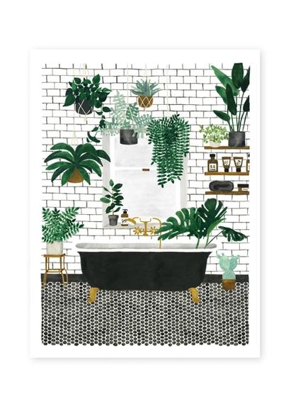 Bathroom with plants print