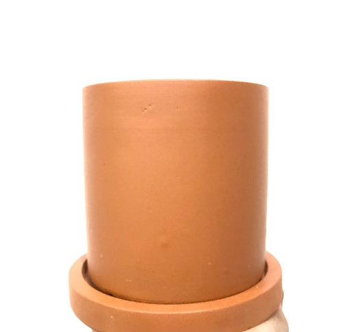 Terracotta cement pot w/ saucer
