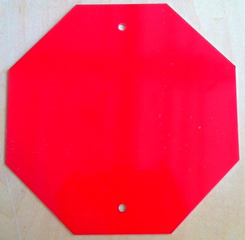 """.040 6""""x6"""" Gloss Red Aluminum Mini Stop Sign Blank w/ holes"""