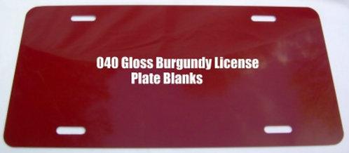 ".040 6""x12"" Gloss Burgundy Aluminum License Plates/Car Tags."