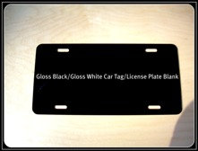 ".024 6""x12"" Gloss Black / Gloss White Aluminum License Plates/Car Tags."