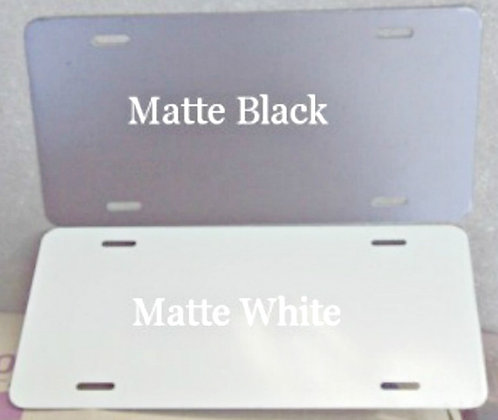 ".040 6""x12"" Gloss White / Matte Black License Plates/Car Tags."