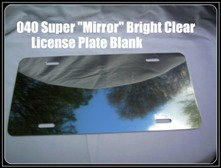 ".040 6""X 12"" Super Bright ""Mirror"" Clear Aluminum License Plates/Car Tags"
