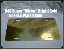 ".040 6""x12"" Super Bright ""Mirror"" Gold Aluminum License Plates/Car Tags"