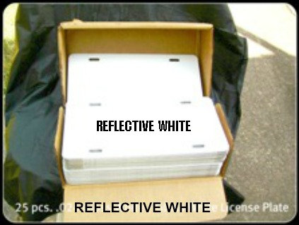 """.024 6""""x12"""" White Reflective Aluminum License Plates."""