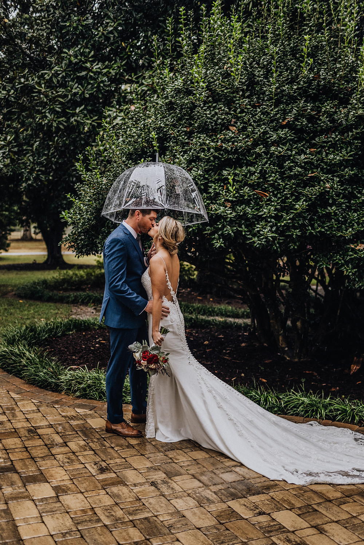 Couple in rain on wedding day