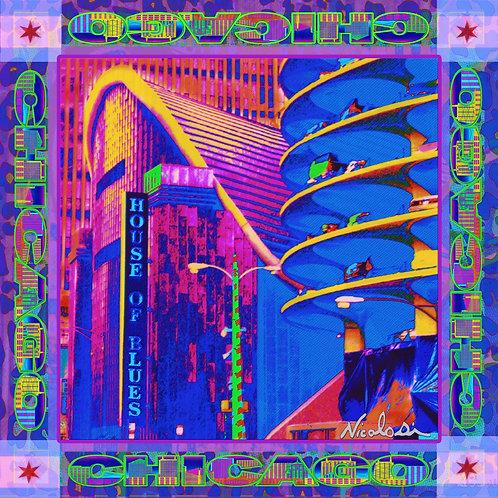 "Nicolosi Wearable Art - Art Silk 40"" x 40"" Scarf -""Chicago ""House of Blues"""