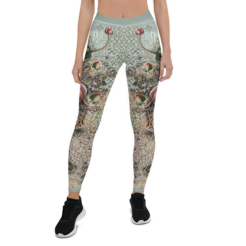 Leggings GRAY with  lilies