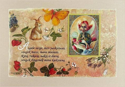 Pergamentas  -maldelė su  Angelu