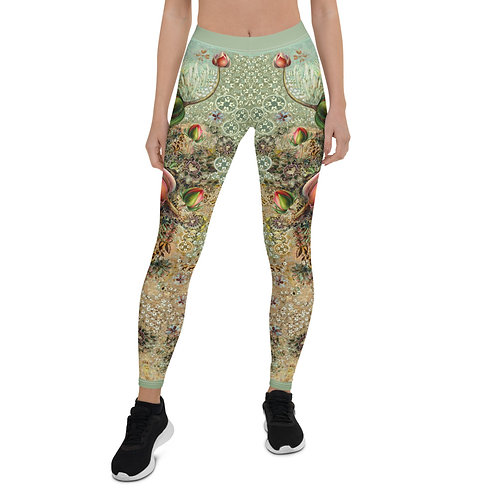 Leggings GREEN  with  lilies