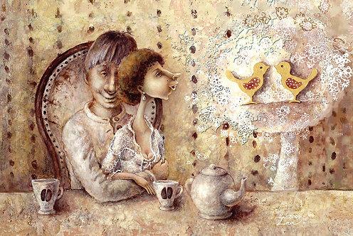 RYTINĖ KAVUTĖ DVIEMS/ Morning  coffee for  two / 10x15 cm
