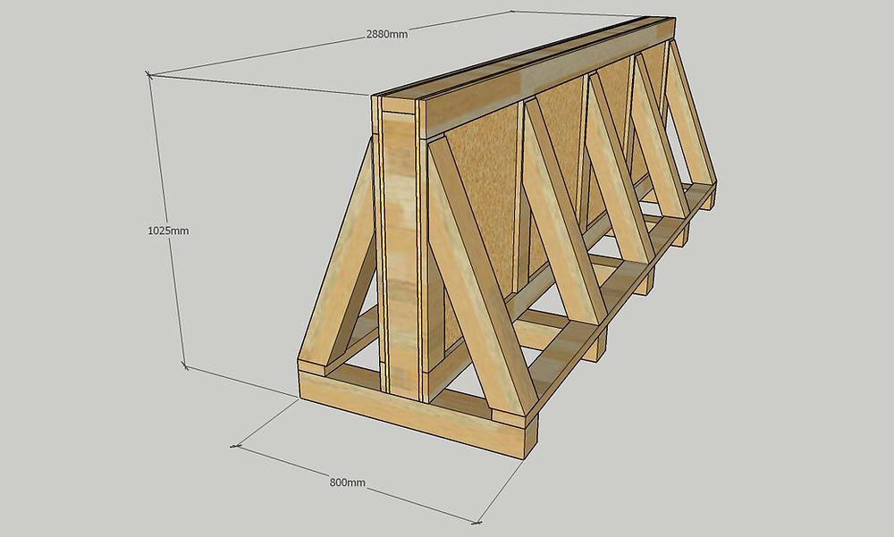輸出用木箱 ガラス 輸出 輸送 熱処理 3D 図面