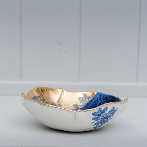 Blue & Gold Floral Storage Bowl
